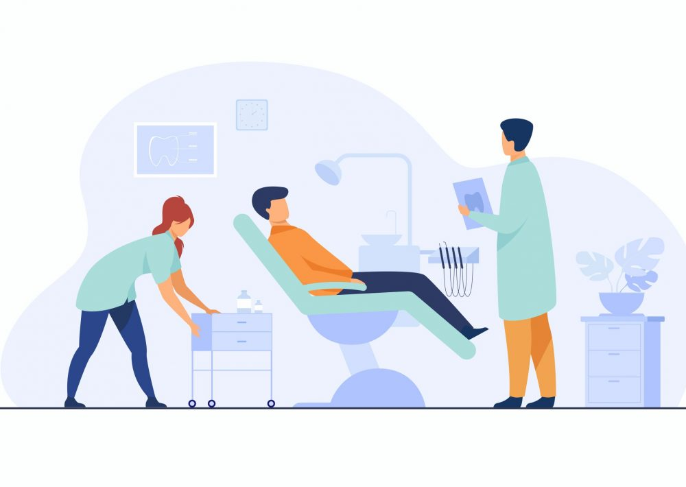 Dental clinic concept. Patient visiting dentist office, sitting in chair while doctor examining him with nurse assistance, holding report and discussing treatment. Flat cartoon characters